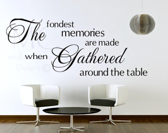 Dining Room Wall Decal Fondest Memories, Dining Room Sign, Kitchen Wall Decor, Wall Decal for Kitchen, Gathered Around the Table Decal