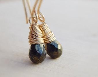 Black Spinel Earrings, Gold filled, wire wrapped jewelry handmade, dainty gemstone dangle earrings,