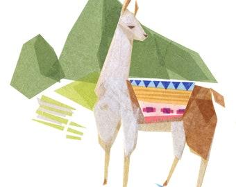 Linda Llama at Machu Picchu - Art Print