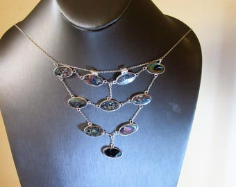 Sterling silver Abalone teared dangle fringed necklace.