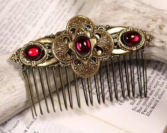 Wedding Comb, Renaissance, Bridal Comb, Tudor, Hair Adornment, Ren Faire, Medieval Jewelry, Garb, Renaissance Wedding, Red, Avebury