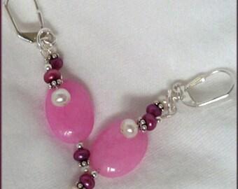 In the Pink Sterling Silver, Jade, FW Pearls Earrings