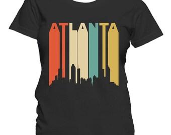 Retro 1970's Style Atlanta Georgia Cityscape Downtown Skyline Women's T-Shirt