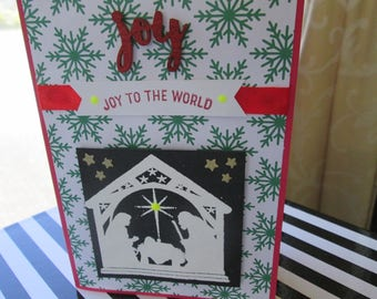 Homemade Christmas Card, Joy to the World, Nativity Scene white heat embossed