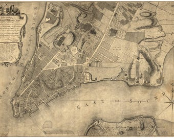 Map of Lower Manhattan, New York City; Antique Map, 1767