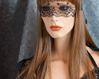 Sexy Sheer Black Lace Mask / pseudo Blindfold