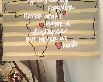 Sisters, Best Friends--Love Over Distance--Hand painted cardstock sign 8.5x11