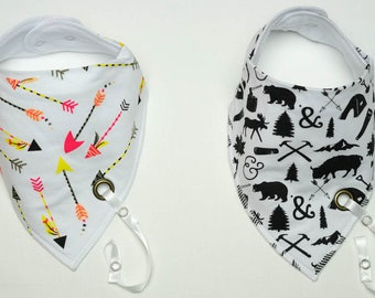 Bandana bib | Drool Bibs | Unisex Set with Pacifier Clip | Baby Drooling and Teething | Soft and Absorbent Bib Set | Dribble bib | Baby Gift