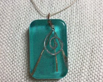 Turquoise and Copper Spiral Resin Pendant