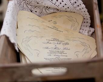 SET OF 25+ Romantic Vintage Design Wedding Fan custom colors available