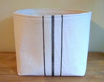 free shipping - grainsack basket / black stripe / vintage style / canvas basket / storage / organization / gift basket / fabric basket /
