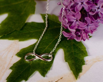 Infinity Necklace - Sterling Silver Simple Infinity Necklace - Figure 8 Necklace - Bridesmaid Gift - Simple Small Necklace for Every day