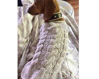 Cabled dog sweater - Pastel Dog clothes - Pet Clothing - Custom dog clothes - Dog Dress  - Dog sweater - Small dog clothes - BubaDog