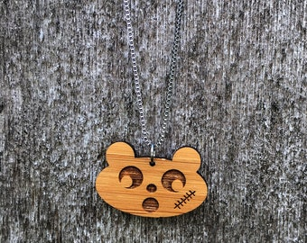 Scar faced baer bamboo necklace