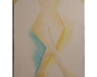 Hipster - minimalistic colorful water based abstract figurative drawing painting on canvas