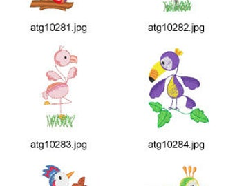 Sticky-Birds ( 10 Machine Embroidery Designs from ATW )  XYZ17F