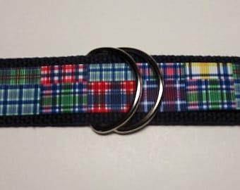 """MADRAS PLAID Ribbon Belt / Preppy /Grosgrain / 1.25"""" Webbing /Red / Blue /Green / White / Womens Belt / Mens/Boys/Girls / S / M / L / D Ring"""