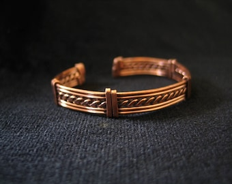 Ethnic bracelet in recycled copper, for men or women