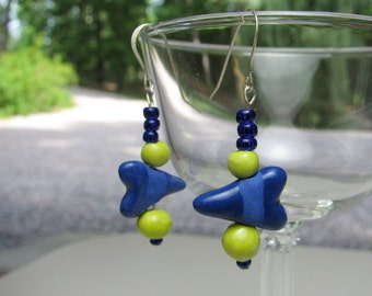 Hearts of Blue Earrings Handmade Beads