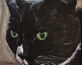 Tuxedo Cat Art Print, Tuxedo Cat Print, Tuxedo cat on canvas or paper