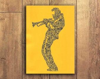 Miles Davis - La star de la trompette, du Bebop et Jazz fusion - portrait biographique - Art ligne continue - edition limitée - A4