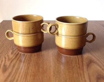 Vintage Stacking Coffee Mugs Japan Glazed Stoneware By Canoe Ekco 1102 set of 4