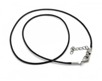 10 necklaces 47cm black waxed cotton