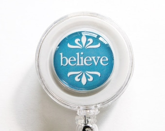ID Badge Holder, Believe, Badge Reel, Retractable id, Badge clip, Name Tag, Pink, Blue (3082)