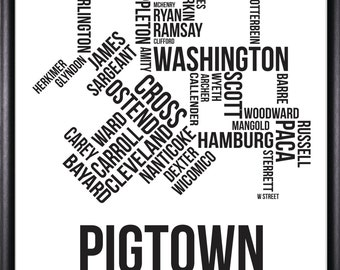 Pigtown Baltimore Neighborhood Map Print-FREE SHIPPING