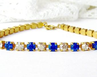 Sapphire rhinestone bracelet / vintage rhinestone / gift for her / tennis bracelet / birthday gift / blue and clear crystal bracelet