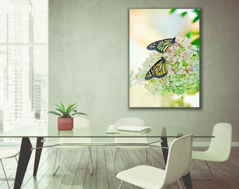 World map gallery wrapped canvas with vintage sheet music and butterfly photography gallery wrapped canvas 8x12 16x24 24x36 butterfly home decor two monarch butterflies hydrangea canvas gumiabroncs Choice Image