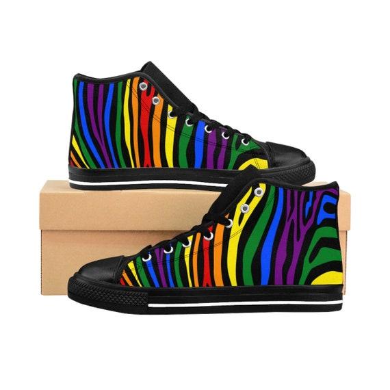 Gay Zebra Sizing Hightop Sneakers Flag Lgbt Gay Pride Lesbian Pride Queer Transgender Rainbow Mosaic Bisexual Mens 4UxTnd4wq