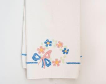 Vintage Martex Chenille Bath and Bath Towel, Flower Wreath with Ribbon Pink Blue, Bathroom Decor Made in USA