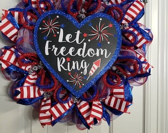 Let Freedom Ring Patriotic Wreath, Red White and Blue Deco Mesh