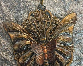 Bronze Fantasy Fairy Steampunk Butterfly Keychain