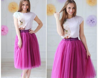 Tulle skirt - adult tutu - bridesmaid tulle skirt - adult tulle skirt, midi skirt, custom any length