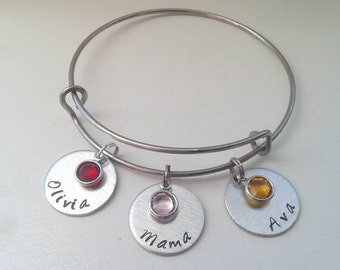 Personalized Name Adjustable Stainless Steel Bangle With Birthstones - Custom Birthday Gift - Best Friend Mom Grandma Aunt Nanny Teacher