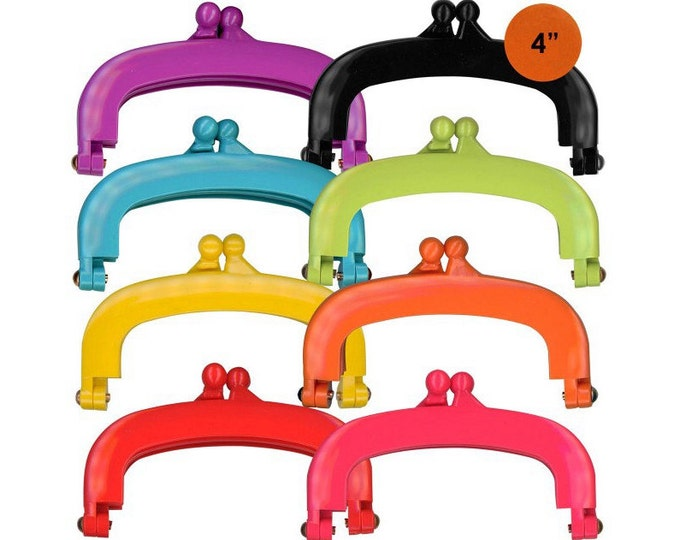 """Lecien Jelly clip SMALL 4"""" in 8 colors - resin acrylic kiss lock for purse,  1 clip per package - choose a color"""