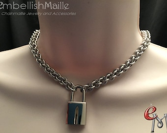 Submissive Collar, BDSM Collar, Padlock Necklace, Slave Day Collar, Day Collar, Locked Collar, Stunning Rope Collar, Submissive Jewelry