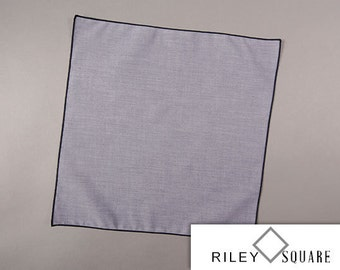Blue Chambray Pocket Square, Formal or Casual Pocket Square, Handkerchief, Fashion Accessories