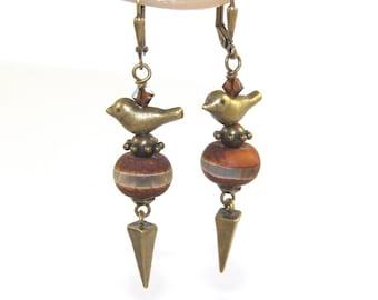 Paloma Agate Earrings - Peace, Strength - Rustic Boho Jewelry