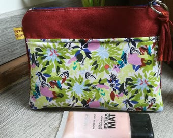 """Floral"" suede pouch"