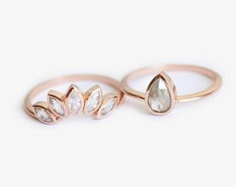Diamond Ring, Engagement Ring, Wedding Ring, Bridal Set, Floral Crown Ring, Pear Diamond Ring, Solitaire Ring, White Saphire Ring, Band Ring