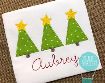 Christmas Tree Applique Shirt / Trio of Trees / Vintage Christmas Shirt / Toddler Christmas / Personalized Christmas / Christmas Outfit