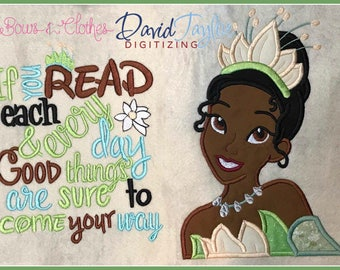 Princess Tiana Bust 2 Embroidery Design ONLY 4x4 5x7 6x10 7x10 in 9 formats-Applique Instant Download-DTDigitizing Frog Naveen Pillow Book