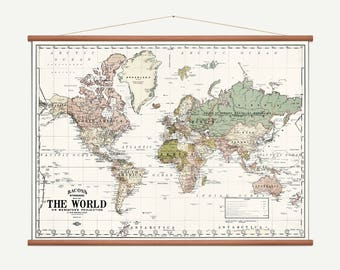 Pull Down Wall Map - World Map (White) - Old world map - School Chart