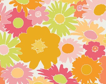 Art Gallery Fabrics, Flower Fabric, Light Pink Flowers, Fuchsia Flower, Retro Fabric, Cotton Fabric By The Yard, Fat Quarter, 1 Yard Fabric