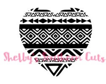 Aztec Heart SVG file