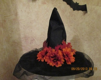 Primitive Witch Hat -  Rustic Witch Hat - Sunset Orange Floral Witch Hat - Halloween Witch Hat