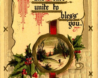 Happiness, Peace, Christmas, Wishes, Fine Embossed 1914 Vintage Postcard XM860426